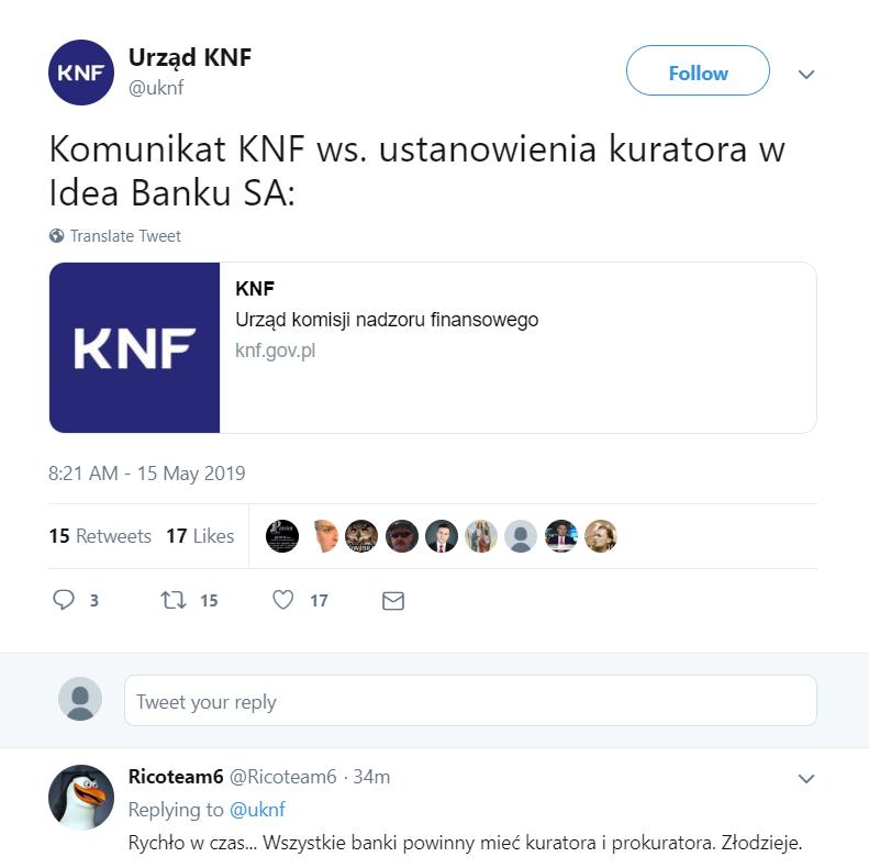 decyzja KNF w sprawie Idea Banku