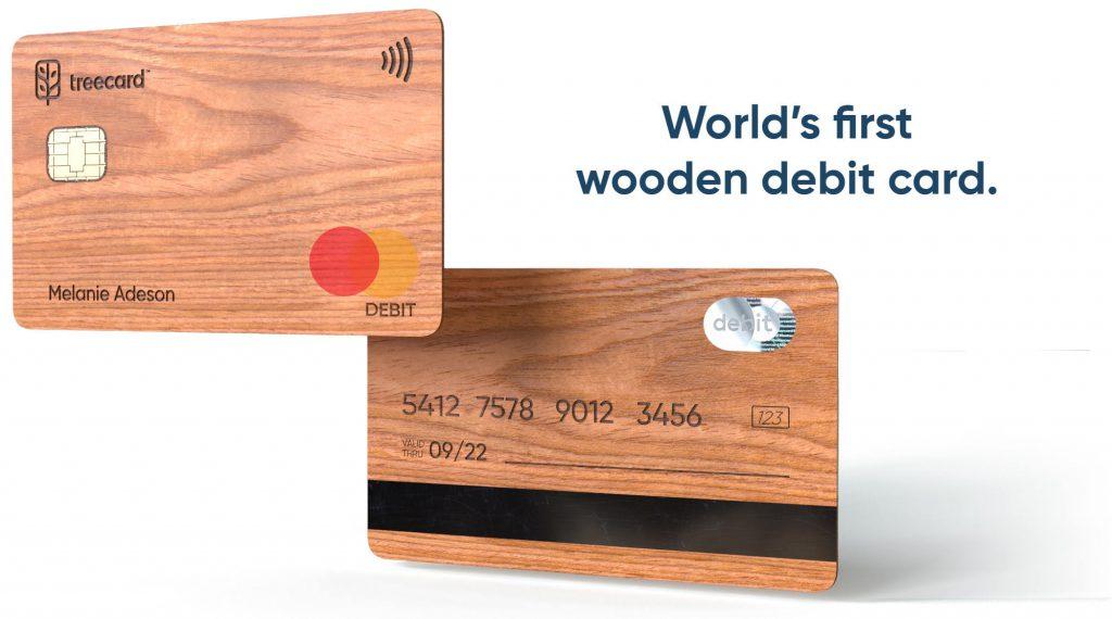 drewniana karta płatnicza